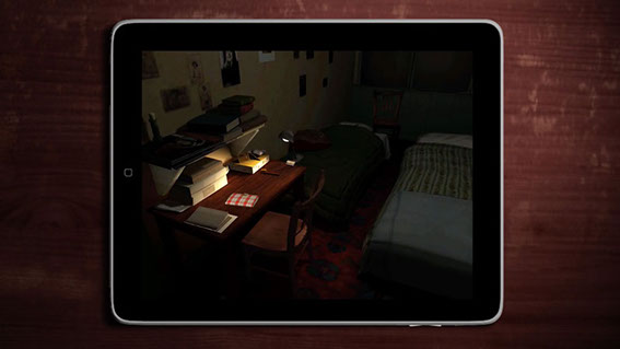 As the app opens, the reader is taken through a 3D model of Anne's room, based on the John Blair layout, and finally looks down at the desk