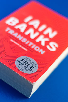 The first companion app I devised was for the launch of Iain Banks' novel Transition. The app was advertised on the front cover.