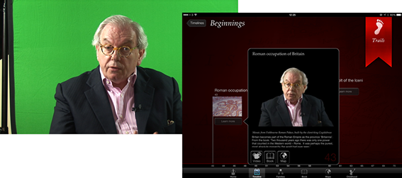 There is about an hour of Dr Starkey in the app.  I  shot most against a green screen and then composited in place.